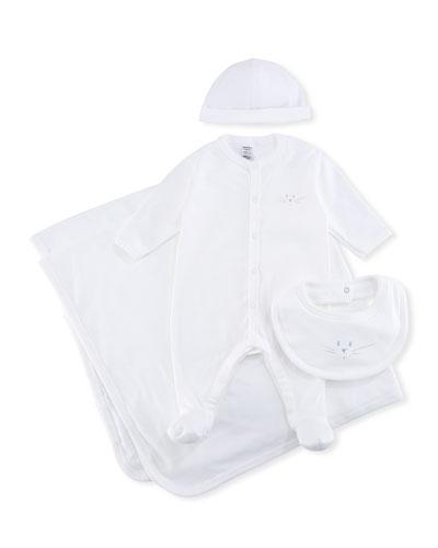 4-Piece Cotton Layette Set, Size 1-9 Months