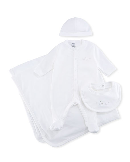 4-Piece Cotton Layette Set, Size 1-9 Months