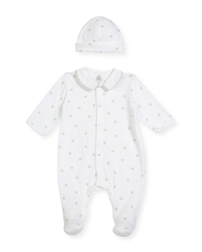 Star-Print Collared Footed Coverall w/ Baby Hat, Size Newborn-9 Months