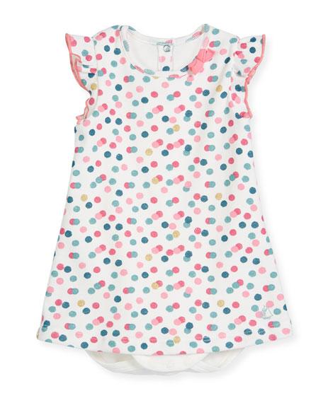 Petit Bateau Polka-Dot Bodysuit Dress, Size 3-24 Months