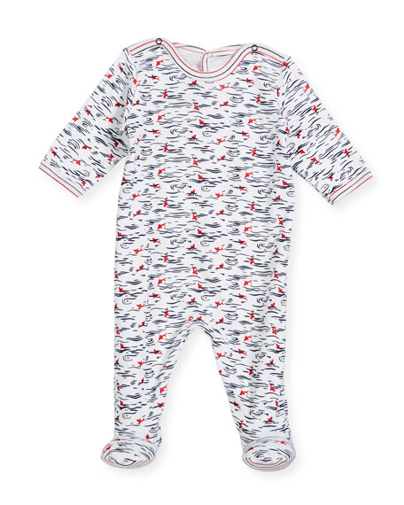 Petit Bateau Back-Snap Wave-Print Footie Pajamas, Size Newborn-9