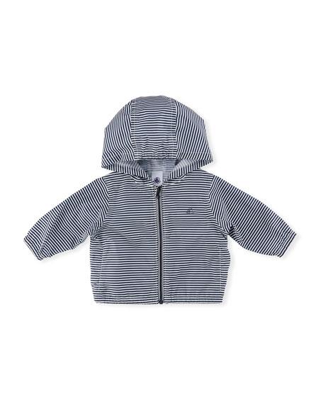 Hooded Zip-Up Striped Windbreaker Jacket, Size 6-36 Months