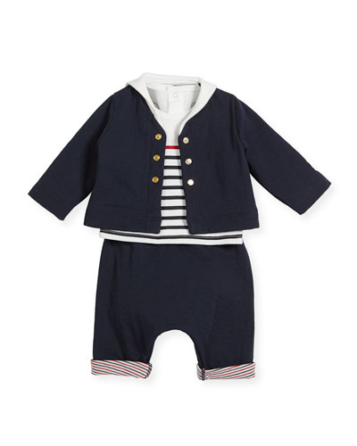 Striped Cotton Layette Set, Size 1-12 Months
