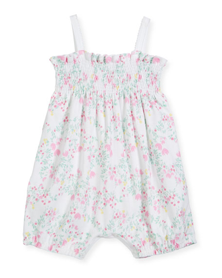 Floral-Print Shirred Bubble Romper, Size 1-9 Months