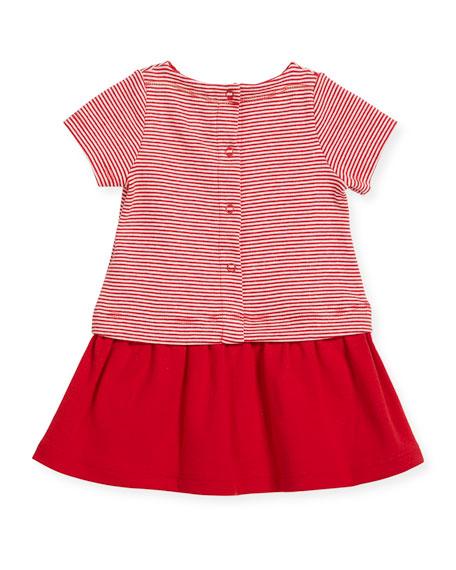 Short-Sleeve Striped Dress w/ Golden Buttons, Size 3-36 Months
