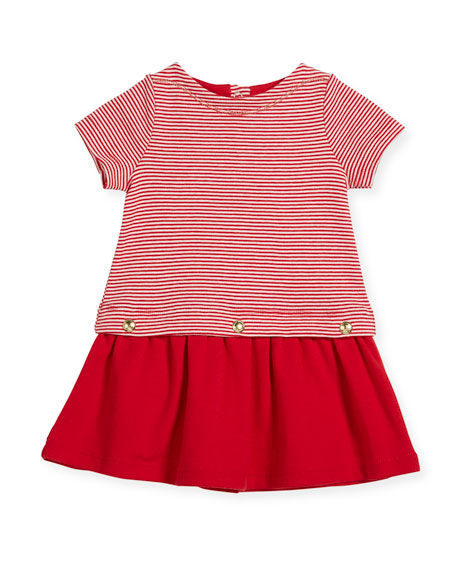 Petit Bateau Short-Sleeve Striped Dress w/ Golden Buttons,