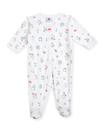 Flower & Animal-Print Footie Pajamas, Size Newborn-6 Months