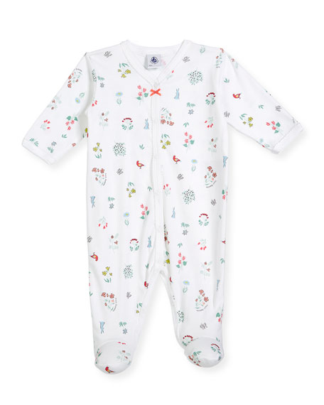 Flower & Animal-Print Footie Pajamas, Size Newborn-6 Months