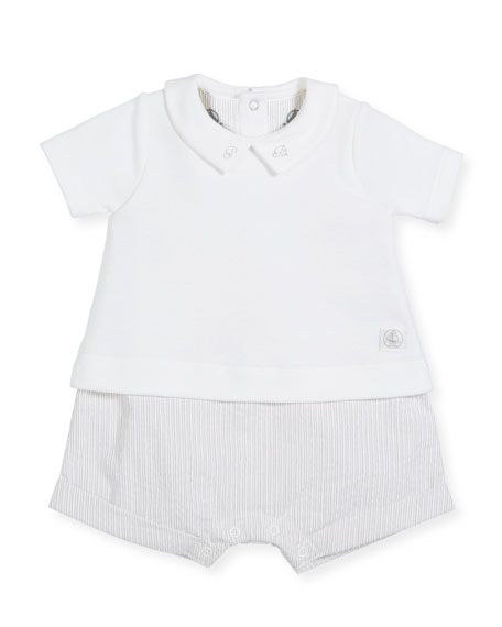 Striped Romper w/ Attached Solid Collared Shirt, Size 1-12 Months