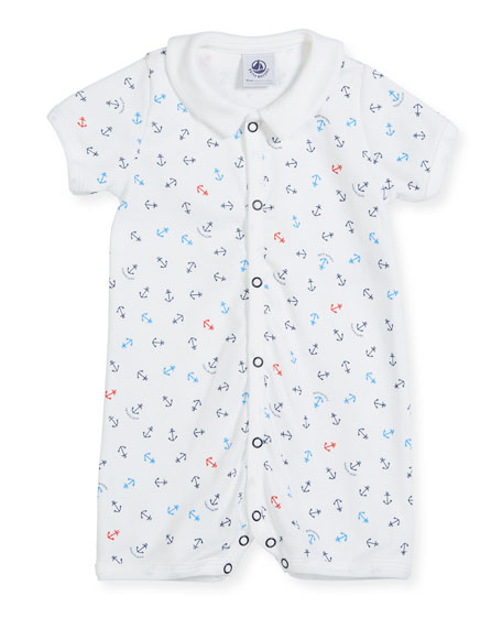 Petit Bateau Short-Sleeve Collared Anchor-Print Shortall, Size
