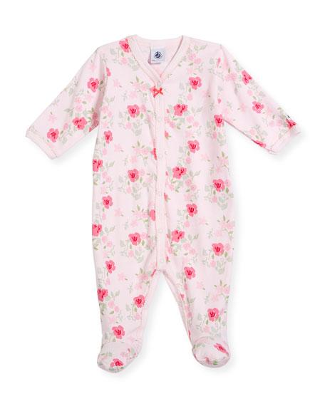 Floral-Print Footie Pajamas, Size Newborn-6 Months