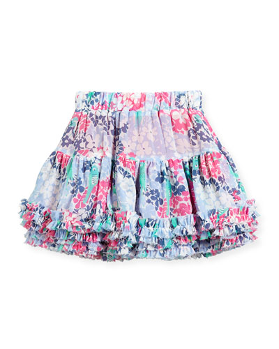 Ruffle-Hem Tiered Floral Skirt, Size 3-6