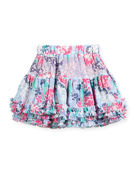 Joules Ruffle-Hem Tiered Floral Skirt, Size 3-6