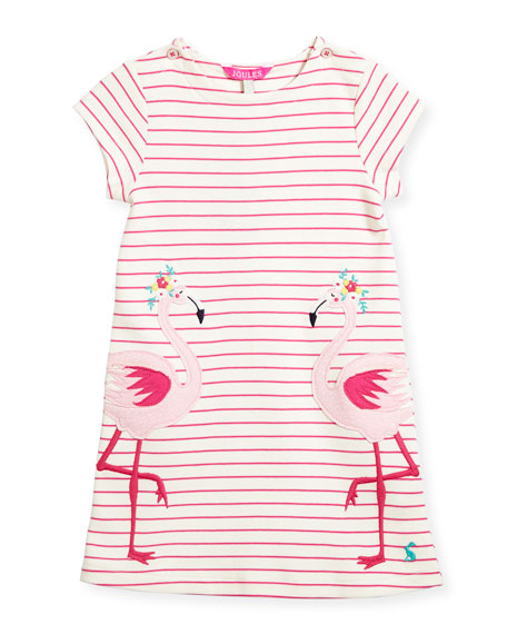 Striped Flamingo Cotton Dress, Size 3-6