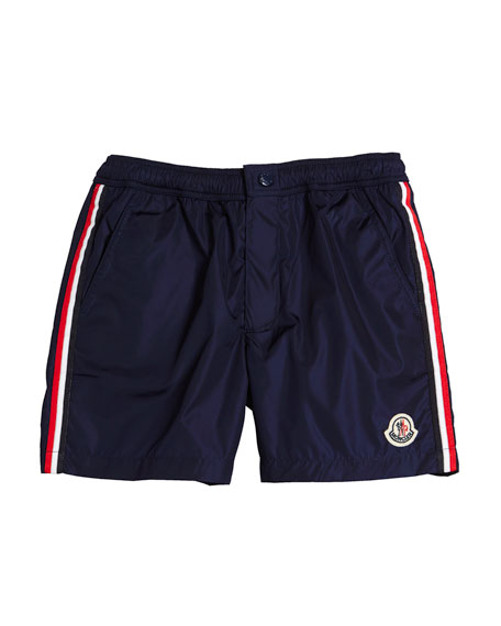 Moncler Boxer Mare Swim Trunks, Size 4-6 and