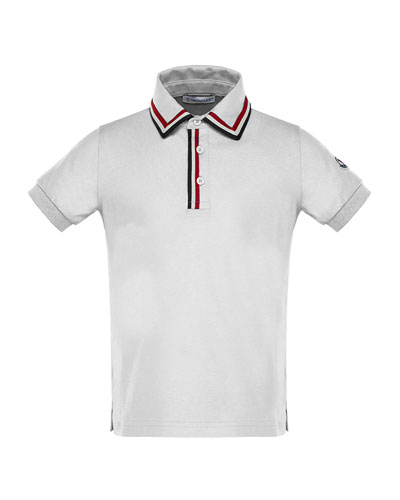 Short-Sleeve Jersey Polo Shirt w/ Flag Trim, Size 4-6