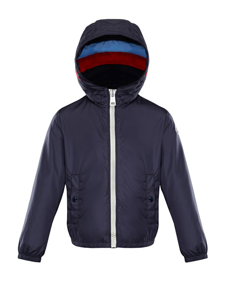 Moncler Camarsac Lightweight Down Jacket w/ Colorblock Hood, Size ...