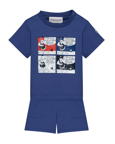 Jersey Cartoon T-Shirt w/ Matching Shorts, Size 12M-3T