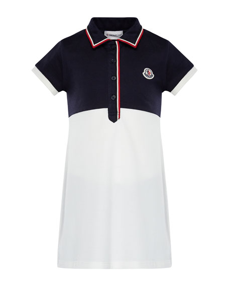 Moncler Two-Tone Short-Sleeve Polo Dress w/ Flag Trim,