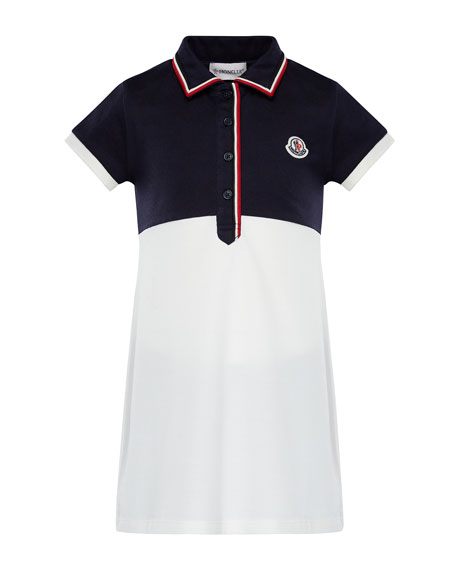 Moncler Two-Tone Short-Sleeve Polo Dress w/ Flag Trim,