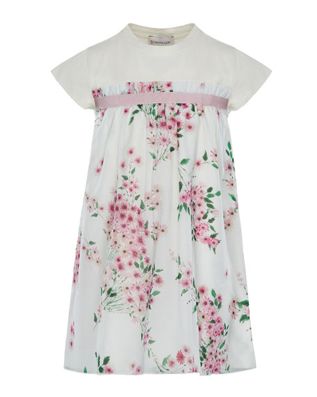 Moncler Mini Me Floral Woven & Jersey Dress,