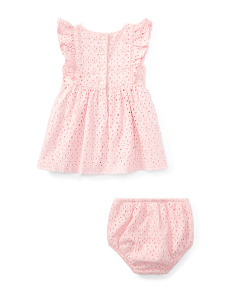 Cotton Batiste Eyelet Dress w/ Bloomers, Size 9-24 Months