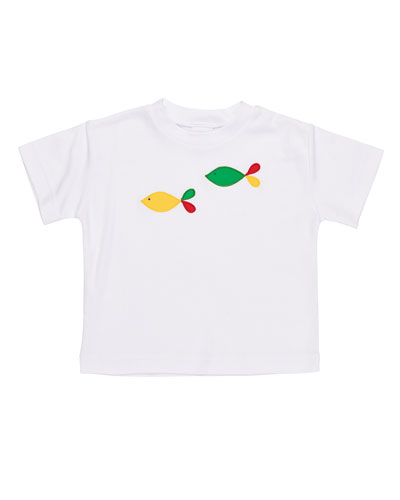 Fish-Embroidered T-Shirt, Size 2-4