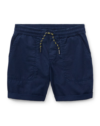 Cotton Twill Parachute Shorts, Size 2-4
