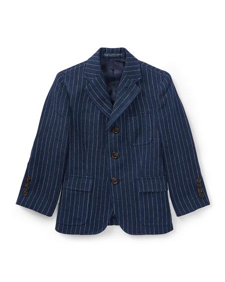 Ralph Lauren Childrenswear Linen Princeton Pinstripe Blazer, Size