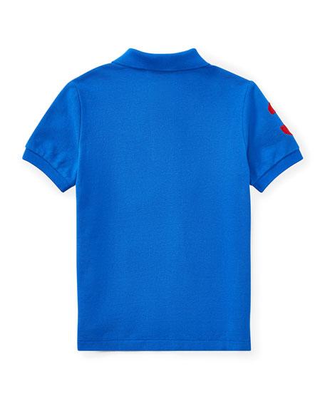 Mesh Knit Polo Shirt w/ Logo Embroidery, Blue, Size 2-4