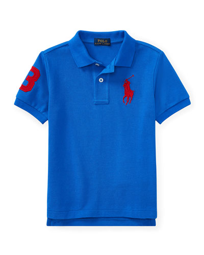 Mesh Knit Polo Shirt w/ Logo Embroidery, Blue, Size 2-4
