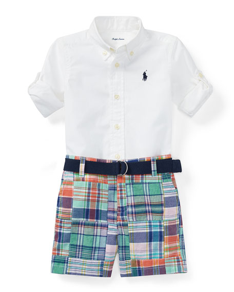 Ralph Lauren Childrenswear Oxford Shirt w/ Patchwork Shorts,