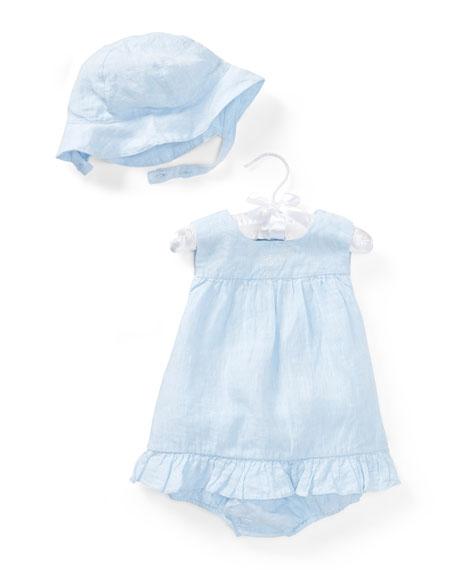 Ralph Lauren Childrenswear Linen Sun Layette Set, Size