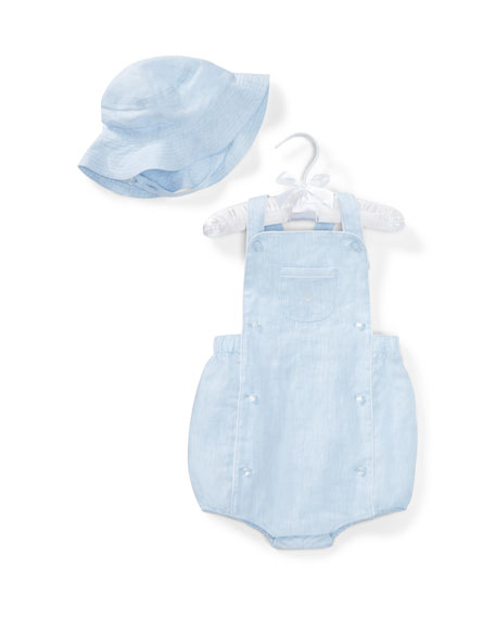 Ralph Lauren Childrenswear Linen Romper w/ Matching Hat,
