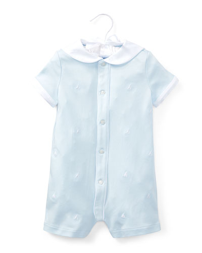 Interlock Sailor Embroidered Shortall, Size 3-18 Months