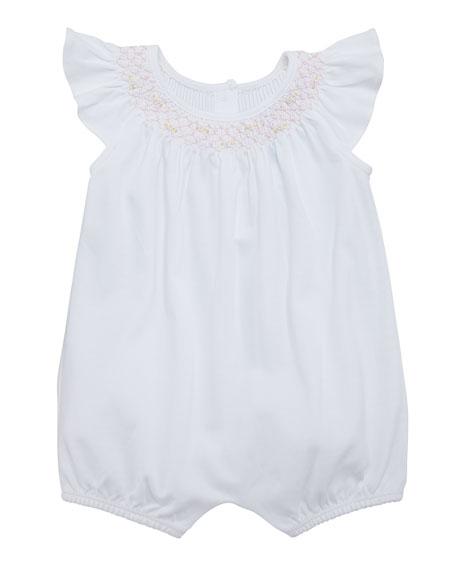 Ralph Lauren Childrenswear Interlock Smocked Bubble Playsuit,