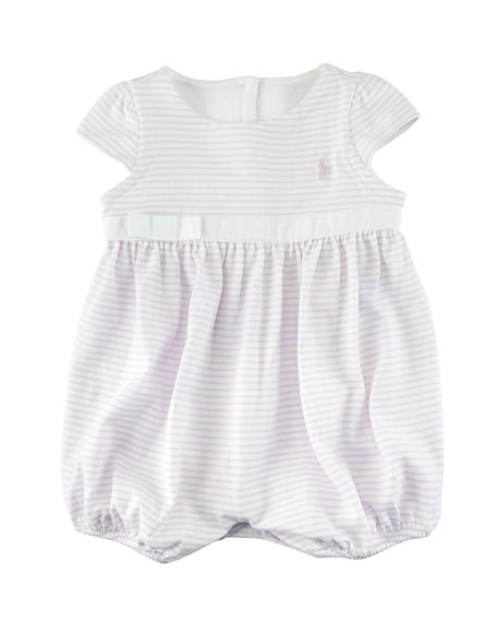 Ralph Lauren Childrenswear Jersey Stripe Cap-Sleeve Playsuit,