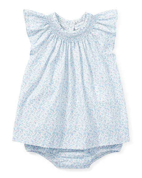 Poplin Floral Smock Dress w/ Bloomers, Size 9-24 Months