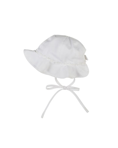 Fine-Wale Pique Hat with Bow Trim, Newborn