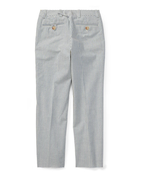 Woodsman Striped Seersucker Pants, Blue, Size 2-3