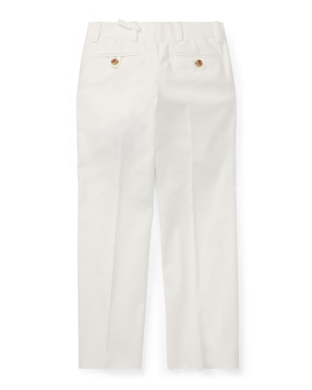Woodsman Pleated Cotton-Blend Pants, White, Size 2-3