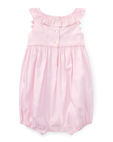 Pinpoint Oxford Ruffle Bubble Playsuit, Pink, Size 3-18 Months