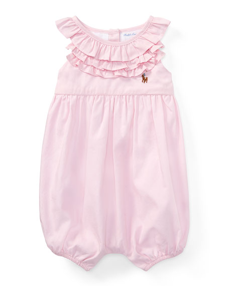 Ralph Lauren Childrenswear Pinpoint Oxford Ruffle Bubble