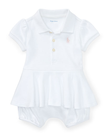 Ralph Lauren Childrenswear Mesh Peplum Polo Play Dress,