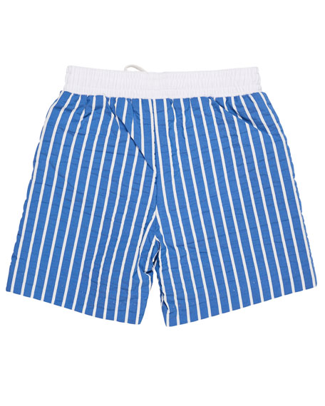 Striped Fish-Embroidered Swim Trunks, Size 6-24 Months