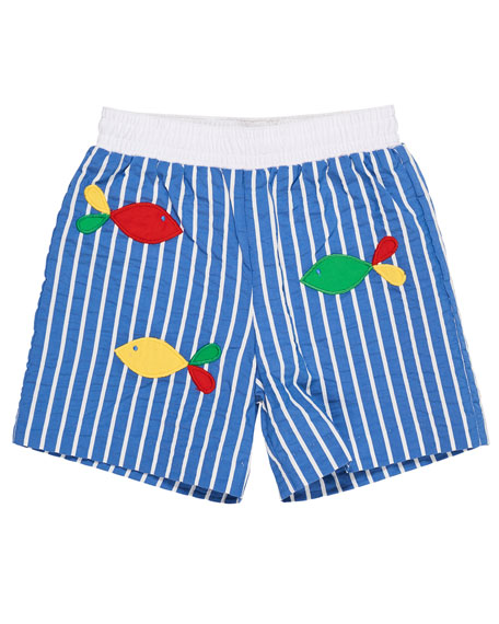 Florence Eiseman Striped Fish-Embroidered Swim Trunks, Size 6-24