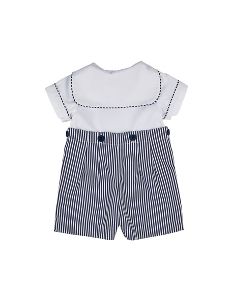 Stripe Fine-Wale Pique Button-On Shortall, Size 3-24 Months
