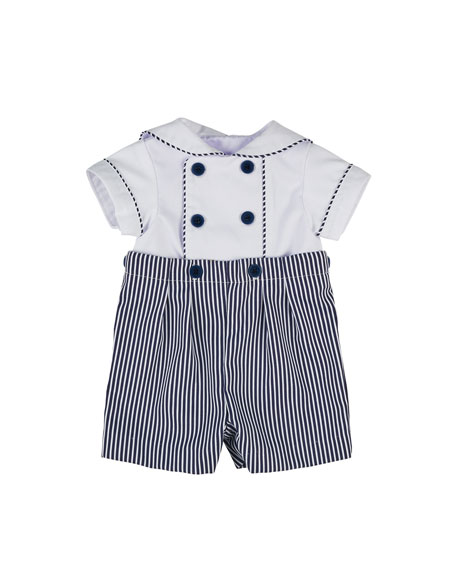 Florence Eiseman Stripe Fine-Wale Pique Button-On Shortall, Size