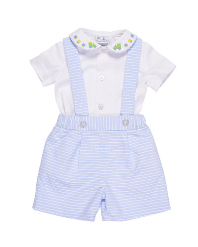 Peter Pan-Collar Train Shirt w/ Striped Pinpoint Shorts & Suspenders, Size 3-24 Months