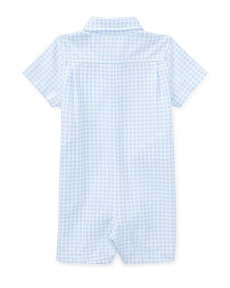 Tissue Mesh Gingham Shortall, Blue, Size 3-18 Months